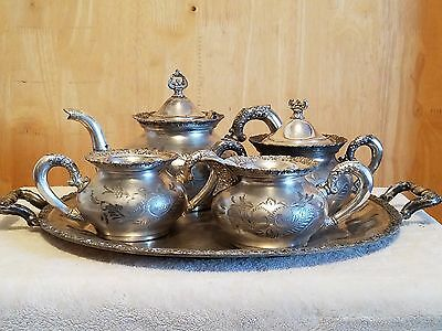 Vintage Van Bergh 5 Piece Tea Set ~ Quadruple Silverplate Patent May 10 1898