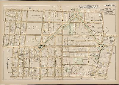 1891 Buffalo New York, Chapin Bidwell Soldiers Place St Mary's Academy Atlas Map