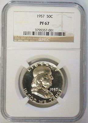 1957 50C Franklin Silver Half Dollar Proof NGC PF67 PQ Coin