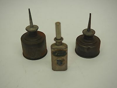 Lot Of 3 Vintage Thumb Pump Oilers / Oil Dispensers