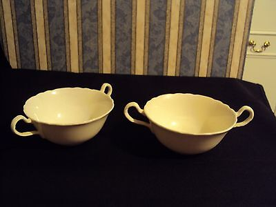 Lot X 2 Pair Vintage Aynsley Bone China Twin Handle Cup Cream White 754522