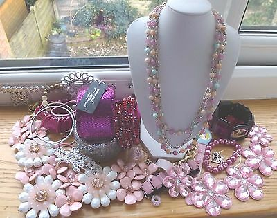 Huge  Pack Costume Jewellery Sell Use For  Craft Spares And Repairs Pink Tone2