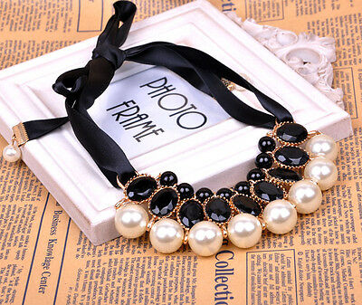 Women's Pearl Crystal Pendant Silk Sash Choker Chunky Collar Necklace Black