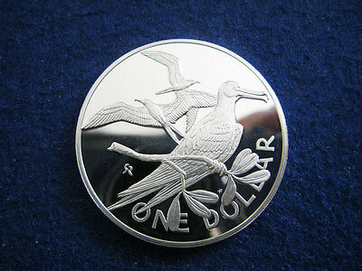 1974 British Virgin Islands Silver Proof $1 - Frigate Birds - Free U S Shipping