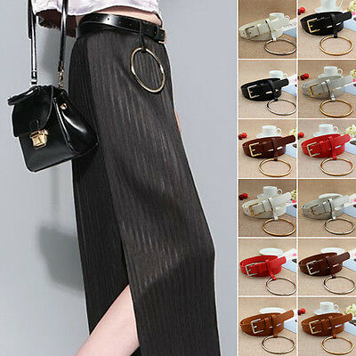NEW Women Waist Belt Leather Narrow Waistband Metal Buckle With Big Ring Circle