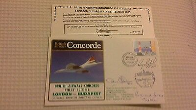 Ba Concorde 1St Flight London - Budapest 1985 Crew Signed