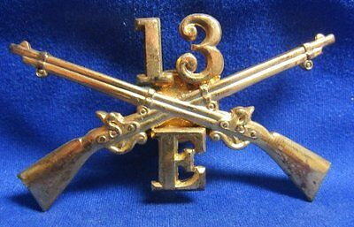 Indian Wars 13th Infantry Regiment E Company Officer Hat Badge GREAT SHAPE