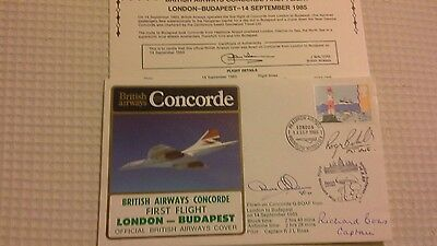 Ba Concorde 1St Flt. Budapest - London 1985 Crew Signed