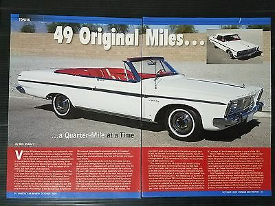 1963 Plymouth Sport Fury Convertible  4-Page Article - Free Shipping