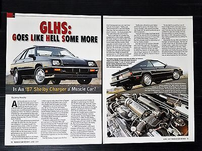 1987 Dodge Shelby Charger GLHS  3-Page Article - Free Shipping