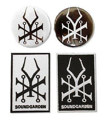 Soundgarden Gift Set -  Black And White Buttons And Patches New Official Band