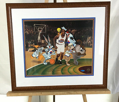Michael Jordan Signed Space Jam Animation Cel LE 253/500 FRAMED COA Bugs Bunny