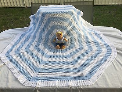 Handmade Crochet Baby Shawl Wrap Bassinet Car Cot Pram Blanket *Clouds*