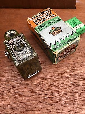 RARE OLIVE GREEN CORONET MIDGET 16mm BRITISH SPY CAMERA BOXED AND FILMS