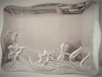 LENOX Rectangular Alloy Metal Tray BUTTERFLY MEADOW by Artist Louise Le Luyer