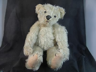 antique white mohair teddy bear,shoe button eyes,fully jointed,12 1/2''T