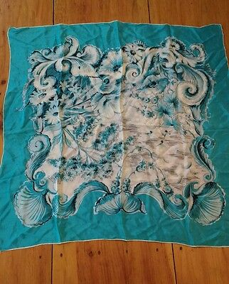 Vintage Silk Blue Scarf Made in the USA