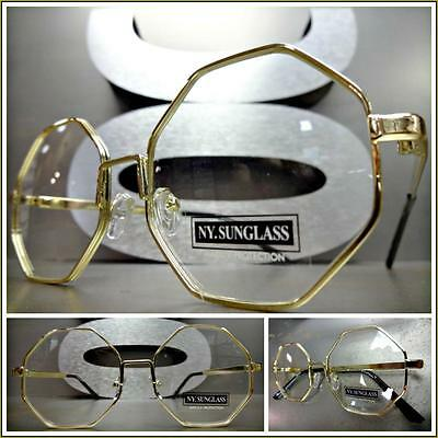 New CLASSIC VINTAGE RETRO Style Clear Lens EYE GLASSES Unique Gold Octagon Frame
