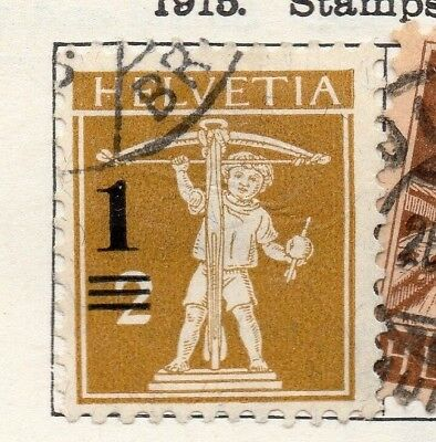 Switzerland 1915 Early Issue Fine Used 1c. Surcharged 131523