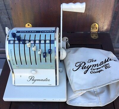 VINTAGE PAYMASTER SERIES X-2000 CHECK WRITER EMBOSSING MACHINE w/ KEYS EXCELLENT