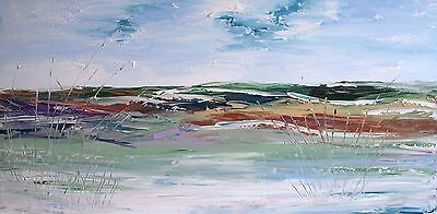 HUGE XL ORIGINAL ABSTRACT ACRYLIC CONTEMPORARY LANDSCAPE KNIFE PAINTING120x60cm