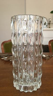 Stunning Vintage Tall Pressed Glass Vase Thick And Heavy Stands 23Cm Tall