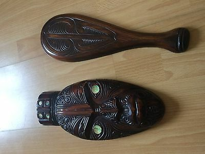 Maori? wooden Mask hand carved with another hand carved ethnic item with No Res