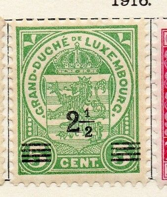 Luxembourg 1916 Early Issue Fine Mint Hinged 2.5c. Surcharged 133881