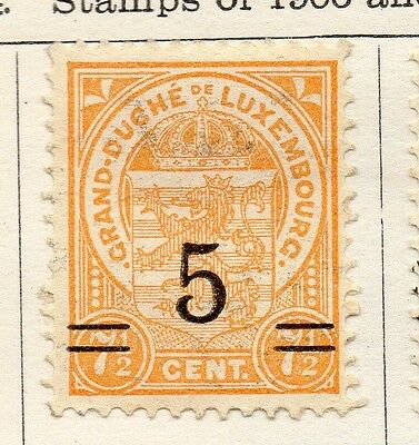 Luxembourg 1922-24 Early Issue Fine Mint Hinged 5c. Surcharged 133907