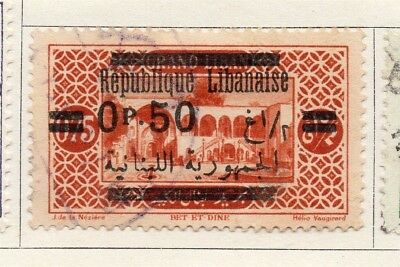 Great Lebanon 1928 Early Issue Fine Used 50p. Optd Surcharged 133981