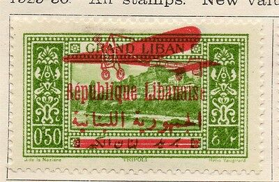 Great Lebanon 1928 Early Issue Fine Mint Hinged 50p. Optd 133986