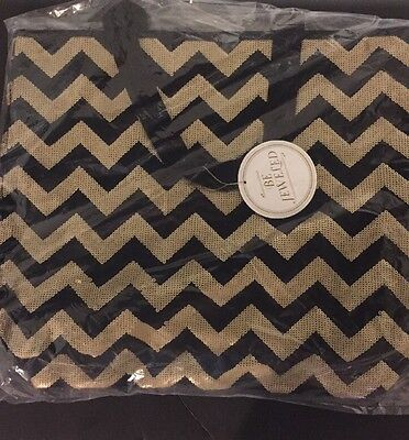 NWT Pottery Barn Teen Chevron Be Jeweled Sequin Gold & Black Travel Tote NEW NWT