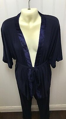 Bump in the Night Maternity Robe Pants Set Blue Satin Trim Size S