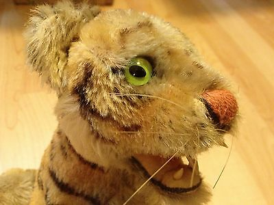 STEIFF Vintage LARGE SITTING BENGAL TIGER EAR BUTTON & Tag 1959-1961