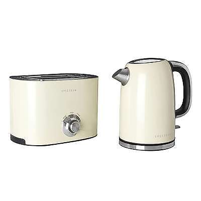 Retro Stainless Steel Cream Beige Spectrum Kettle and Toaster Set Vintage