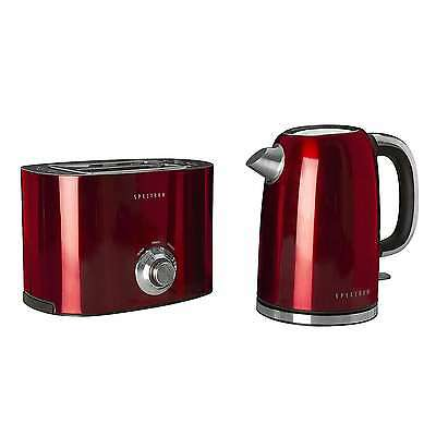 Classy Retro Stainless Steel Xmas Red Spectrum Kettle and Toaster Set Vintage