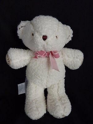 """Carters White Bear Plush Stuffed Teddy Neon Pink Bow Baby Toy 6 1/2"""""""