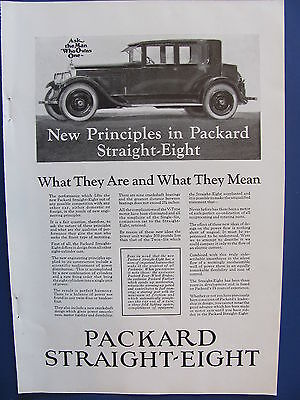 1923 Packard Straight Eight Automobile Ad New Principles