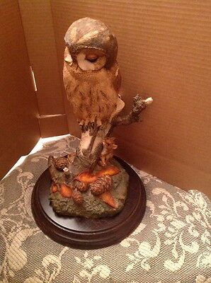 "Country Artists TAWNY OWL WITH MICE Figurine on Base - 9.25"" High 6.75 Diameter"