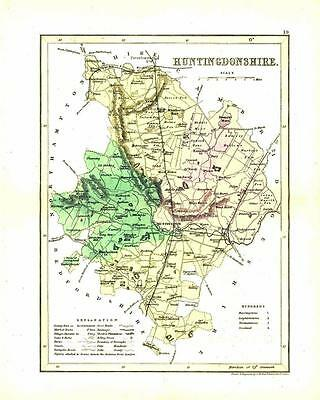 "c1860 Original antique colour map of ""HUNTINGDONSHIRE"" by JOSHUA ARCHER"