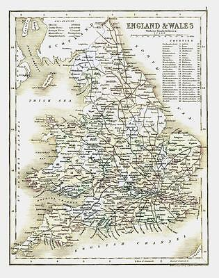 "c1860 Original colour antique map ""ENGLAND & WALES"" by JOSHUA ARCHER"