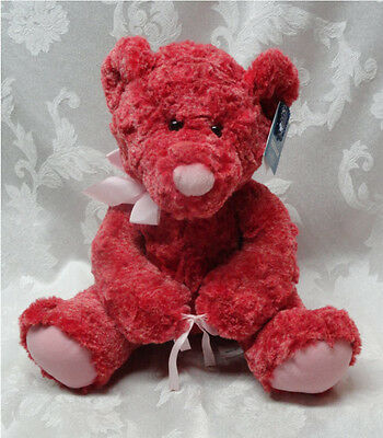 Red Teddy Bear New Tags Applause Floral Vintage #49444 Stuffed Animal Paws Pink
