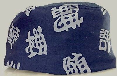 Blue Chinese Letters Mesh Top Chef Hat- Adjustable Velcro Fit