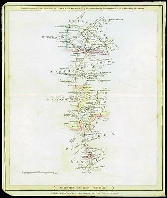 1806 Original Antique Road Map MIDDLESEX HERTFORDSHIRE BEDFORDSHIRE NORTHAMPTON