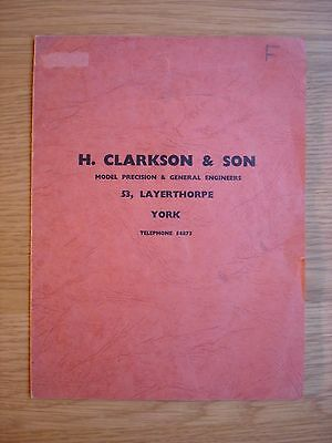 H. Clarkson & Son. York. Precision Model Engineers.  Catalogue 1950s