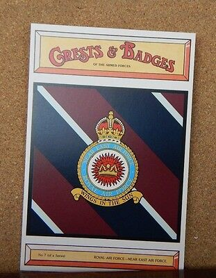 Royal Airforce Near East command Crests & Badges Of the Armed services Postcard