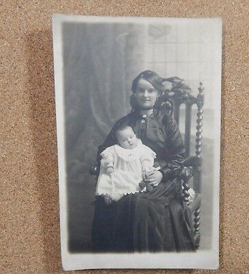 Edwardian Young Mother With Baby on Chair Beautiful Women RPPC unposted    xc1