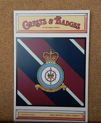 Royal Airforce Strike commmand Crests & Badges of  the Armed services Postcard