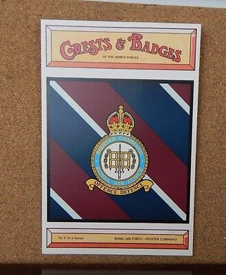 Fighter Command Royal Airforce , Crests & Badges Of the Armed services postcard