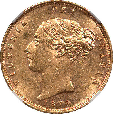 Great Britain 1878 Victoria Gold Half Sovereign NGC MS-62